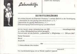 Das Bild zeigt eine alte Beitrittserklärung der Lebenshilfe.