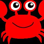 Das Bild zeigt eine gezeichnete Krabbe mit fröhlichem Gesicht.