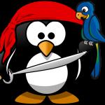 Das Bild zeigt einen gezeichneten Pinguin mit einem Schwert, einem Kopftuch und mit einem Papagei auf der Schulter.