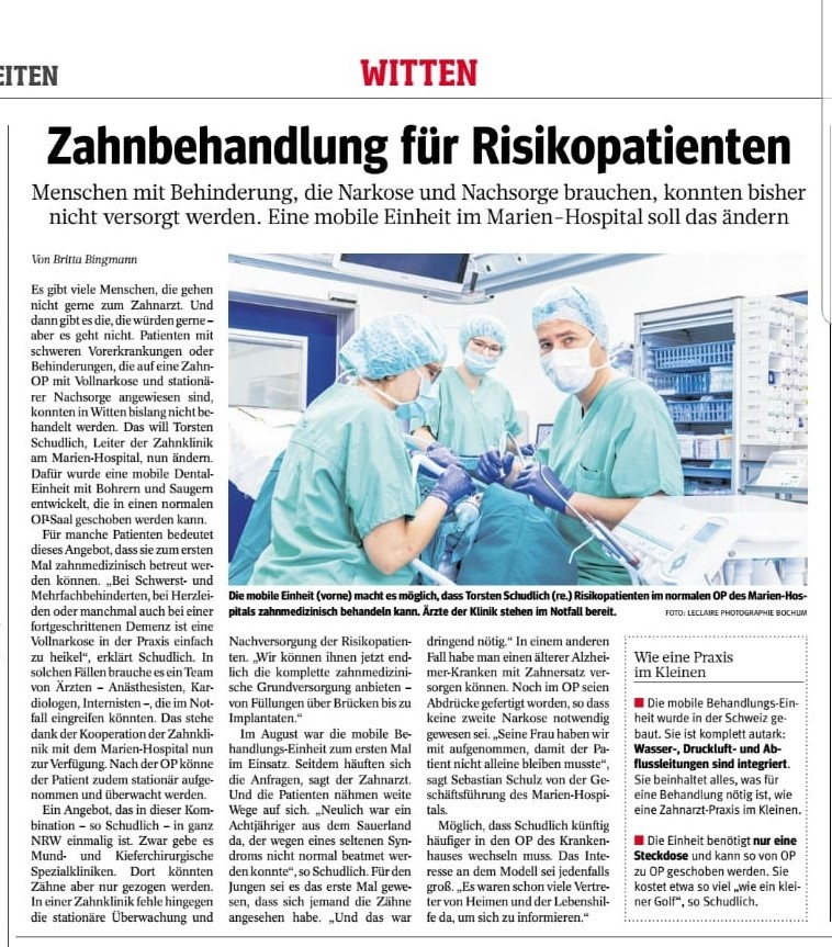 Das Bild zeigt den Zeitungsartikel in der WAZ zu der Kooperation mit der Zahnklinik.
