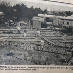 Das Bild zeigt einen alten Zeitungsausschnitt vom Bau der Wohnstätte an der Dortmunder Straße.