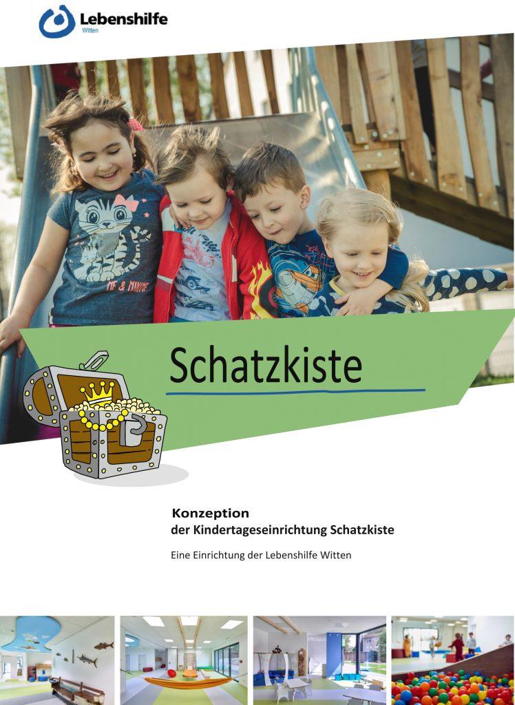 Das Bild zeigt die Titelseite der Konzeption: Vier fröhliche Kinder auf einer Schaukel.
