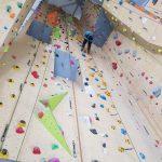 Das Bild zeigt eine Person weit oben an einer hohen Kletterwand.
