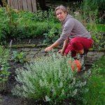 Das Bild zeigt Heike Guthardt bei der Arbeit im Naturgarten.