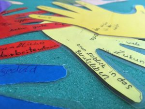 Das Bild zeigt Handumrisse aus buntem Papier, die mit Wünschen beschriftet sind.