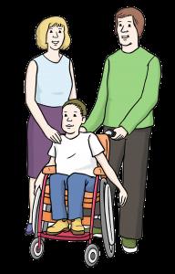 Sie sehen Eltern mit ihrem Kind im Rollstuhl.