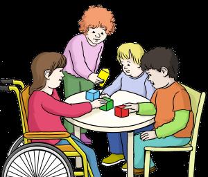 Sie sehen spielende Kinder, ein Kind sitzt im Rollstuhl und ein Kind steht.
