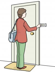 Sie sehen eine Frau die an einer Tür klingelt.