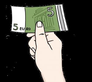 Sie sehen eine Hand mit einem fünf Euroschein.