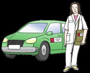 Sie sehen ein grünes Auto und eine Pflegerin.