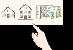 Sie sehen 3 Gebäude und eine Hand.