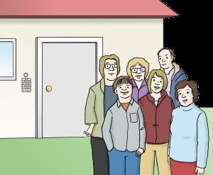 Sie sehen eine Gruppe Menschen vor einem Haus.
