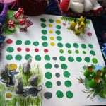 Das Bild zeigt ein Spielbrett mit Fröschen, Mäusen, Pilzen und Bienen.
