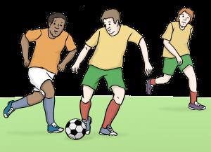 Sie sehen drei Männer die Fussball spielen.