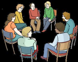 Sie sehen Menschen die zusammen im Kreis sitzen.
