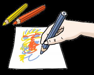 Sie sehen eine malende Hand und drei Stifte.