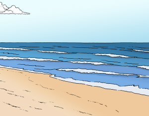 Sie sehen ein Bild vom Strand.