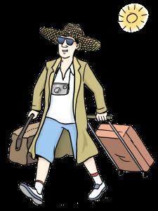 Sie sehen einen Mann mit Gepäck.