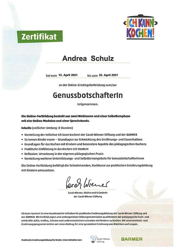 Zertifikat Genussbotschafterin